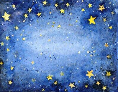 Väggdekor Handmålade vattenfärg blå himmel med ljusa stjärnor