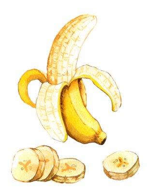 Väggdekor Handritad akvarellillustration av banan