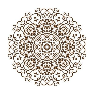 Väggdekor Handritad henna tatuering mandala. Vektor spets prydnad.