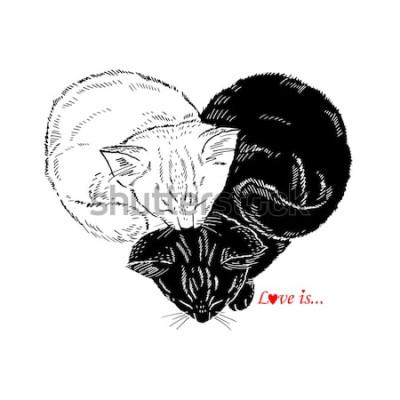 Väggdekor Handritad illustration av svarta och vita kattungar som sover i form av hjärta, Valentin Day design, Love