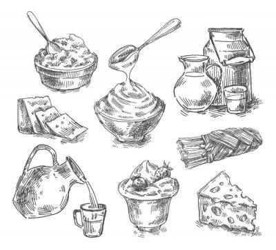 Väggdekor handritad mejeriprodukter, mjölk, ost. skiss