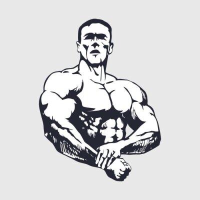 Väggdekor Handritad muskulös man - Kroppsbyggare