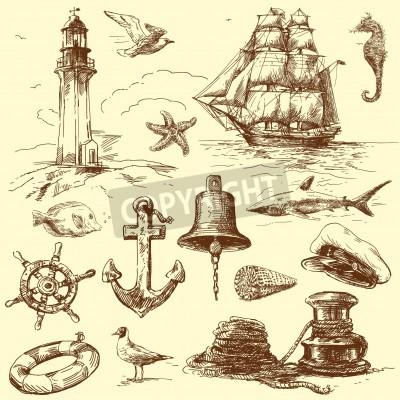 Väggdekor handritad nautisk samling