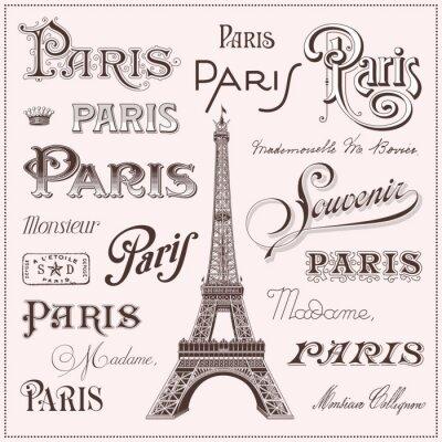 Väggdekor handritad Paris designelement