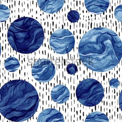 Väggdekor Handritad sömlös mönster av akvarell djupblå cirklar. Marmorstruktur