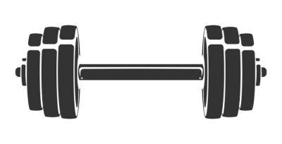 Väggdekor Handritad vektor för silhuett av hantel som isoleras på vit bakgrund. Mall för sportikon, symbol, logotyp eller annat varumärke. Modern retro illustration.