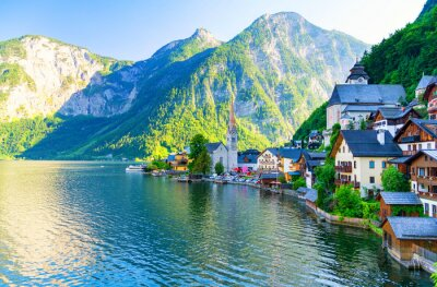 Väggdekor häpnadsväckande liten alpby Hallstatt, Österrike