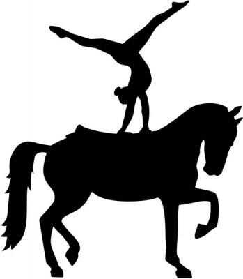 Väggdekor Häst Vaulting silhuett Voltigieren