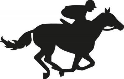 Väggdekor Hästkapplöpning silhuett