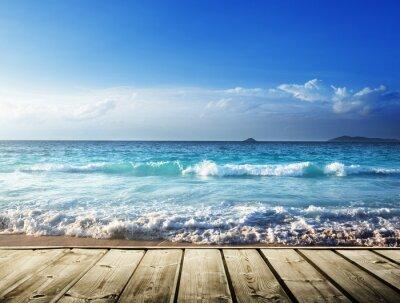 Väggdekor hav och trä plattform