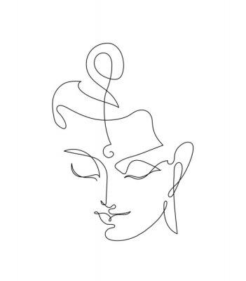 Väggdekor Head Smiling Buddha. Linart drawings.