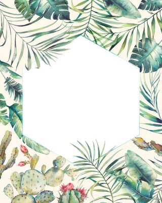 Väggdekor Hexagon tropiska växter ram. Handdräktat sommarkort med kaktus, exotiska grenar, bananblad, palm. Hälsning eller logotypmall.