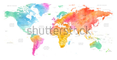 Väggdekor High detailed Multicolor Watercolor World Map Illustration with borders, oceans and countries on white Background, Side View.