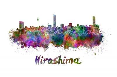 Väggdekor Hiroshima skyline i vattenfärg