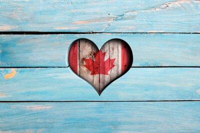 Väggdekor Hjärta och flagga på en blå planka