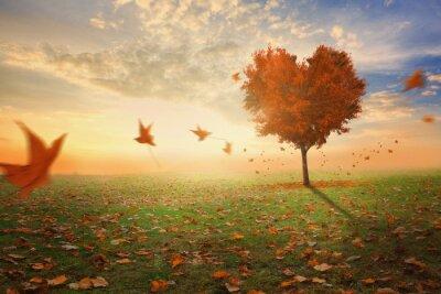 Väggdekor Hjärtformad träd under hösten