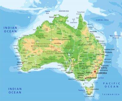 Väggdekor Hög detaljerad Australien fysisk karta med märkning.