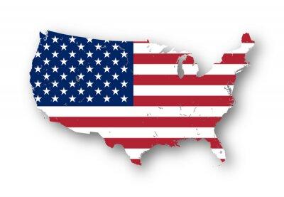 Väggdekor Högupplöst karta över USA med amerikanska flaggan. Du kan enkelt ta bort skuggorna, eller att fylla i kartan i en annan färg - urklippsbana ingår.