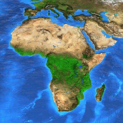 Väggdekor Högupplöst världskarta med fokus på Afrika