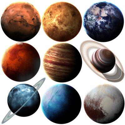 Väggdekor Höjd kvalitet isolerade solsystemet planeter. Delar av denna bild som tillhandahålls av NASA