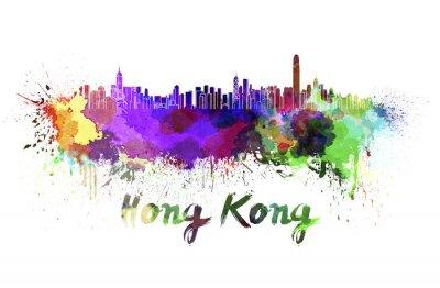 Väggdekor Hong Kong horisont i vattenfärg