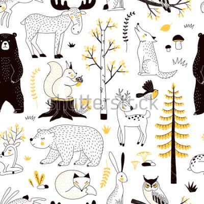 Väggdekor höstskogsmönster