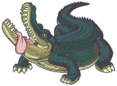 Väggdekor Hungrig tecknad Alligator med tungan hängande ut