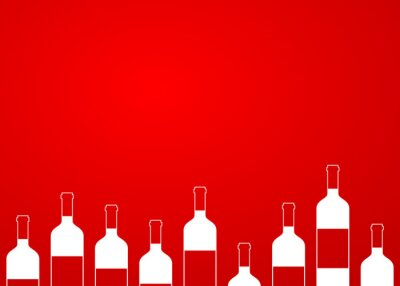 Väggdekor Icono plano botellas de vino synd alinear sobre fondo degradado # 1