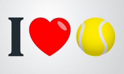 Väggdekor Icono plano jag älskar tenis färg en fondo degradado