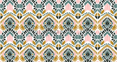 Väggdekor Ikat geometric folklore ornament. Tribal ethnic vector texture. Seamless striped  pattern in Aztec style. Figure tribal  embroidery. Indian, Scandinavian, Gypsy, Mexican, folk pattern.
