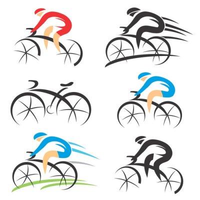 Väggdekor Ikoner med stiliserade cyklist
