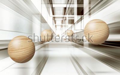 Väggdekor Illustration av 3D brunt sfär mönster på dekorativ bakgrund 3D tapeter. Grafisk modern konst