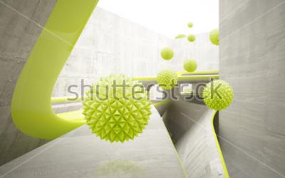 Väggdekor Illustration av 3D grönt kristall boll mönster på dekorativ bakgrund 3D tapeter. Grafisk modern konst