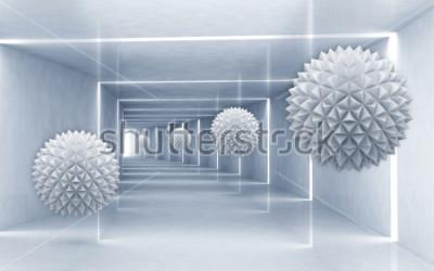 Väggdekor Illustration av 3D kristall boll mönster på dekorativ silver bakgrund 3D tapeter. Grafisk modern konst