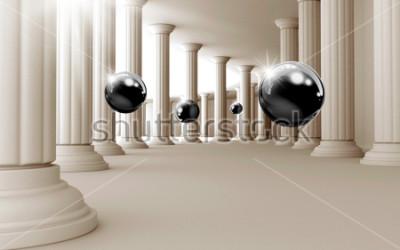 Väggdekor Illustration av 3D svart bollmönster på dekorativ bakgrund 3D tapeter. Grafisk modern konst
