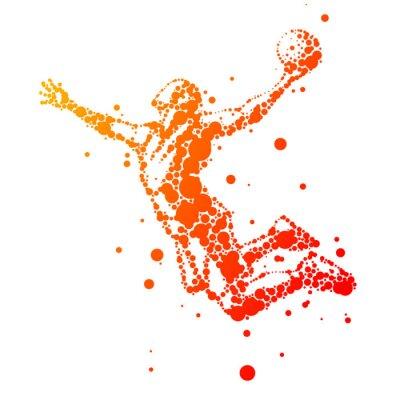 Väggdekor illustration av abstrakt basketspelare i hopp
