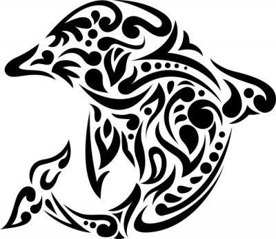 Väggdekor illustration av delfin tatueringskonsten