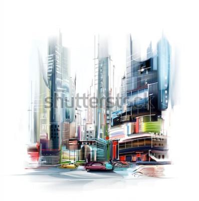 Väggdekor Illustration av den europeiska stadsgatan
