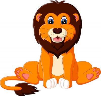 Väggdekor illustration av söt baby lejon tecknad