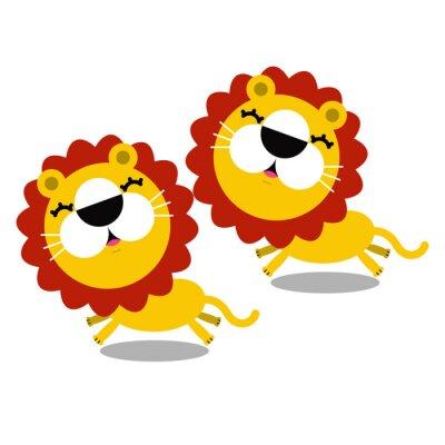 Väggdekor illustration av tecknade söta lejon