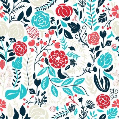 Väggdekor Illustration av vackra handritade blommor