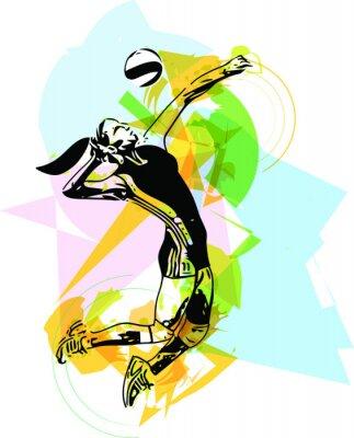 Väggdekor Illustration av volleybollspelare spelar