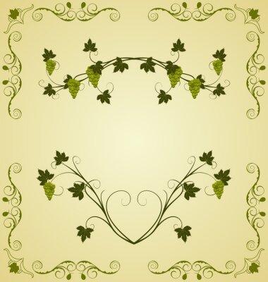Väggdekor Illustration druv kvist utsmyckade