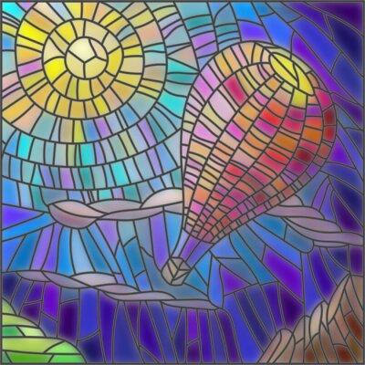 Väggdekor Illustration i målat glas stil luftballong på himmel bakgrund och sol