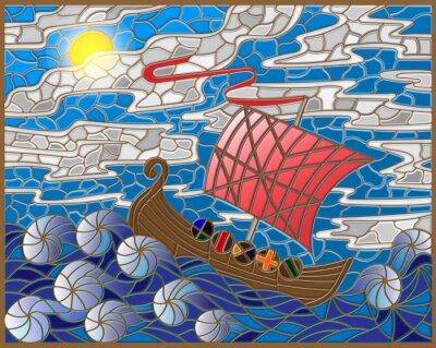 Väggdekor Illustration i målat glas stil med antika skepp mot havet, himmel och sol