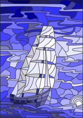 Väggdekor Illustration i målat glas stil med segelbåten mot himlen, havet och inställningen sun.Blue version