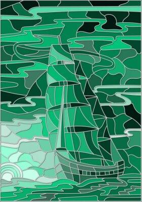 Väggdekor Illustration i målat glas stil med segelbåten mot himlen, havet och inställningen sun.Green version