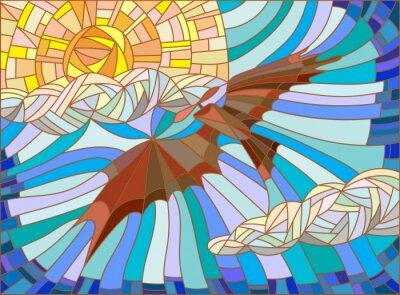 Väggdekor Illustration i målat glas stil med vintage flygplan på himlen, moln och sol