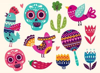 Väggdekor Illustration med symboler i Mexiko