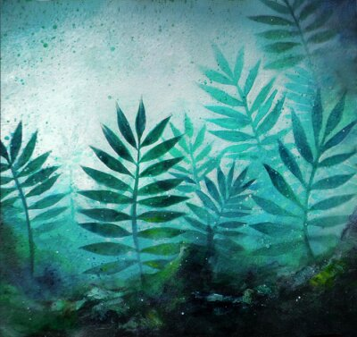 Väggdekor Illustration of a tropical forest landscape with plants in acrylic painting